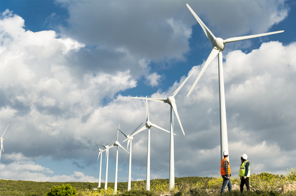 Wind farm with workers