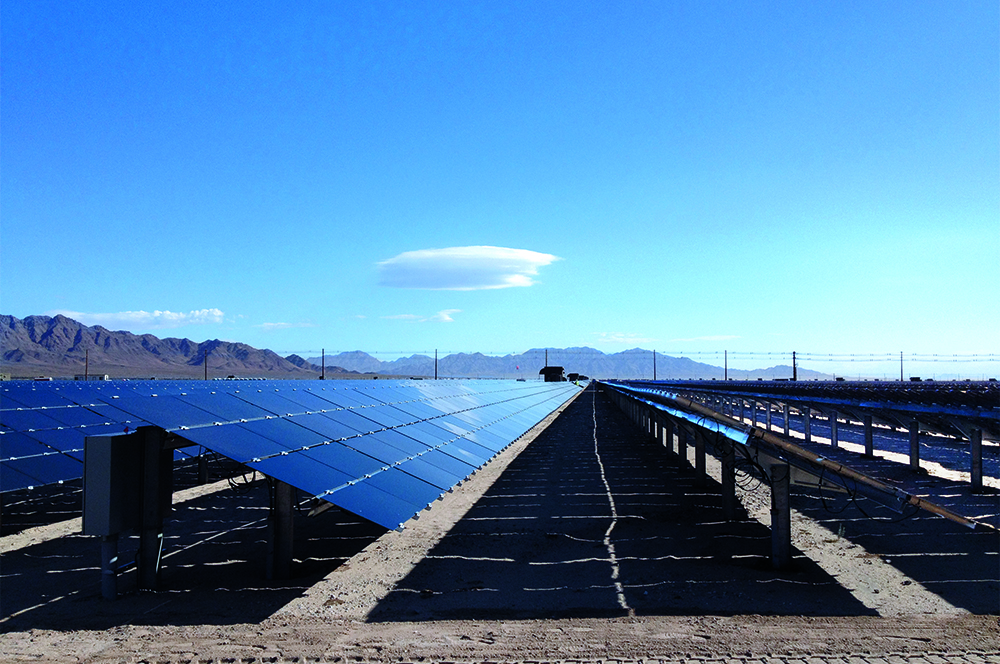 solar field with blue skies photo