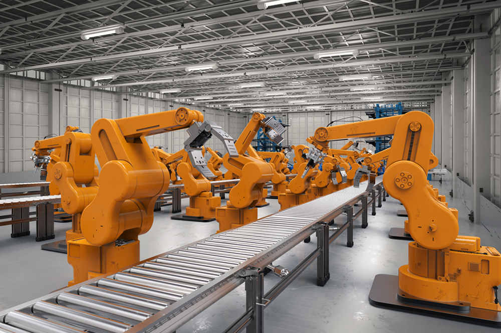 Assembly line with automation robotic arms