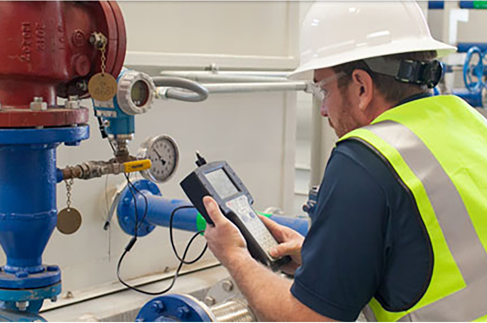 person measuring equipment with electrical instruments