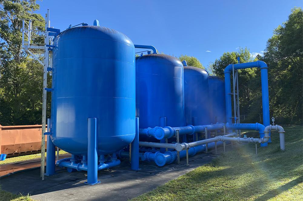 Tanks at a water treatment facility